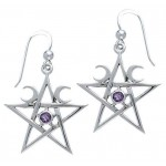Pentagram Pentacle Earrings with Gemstone