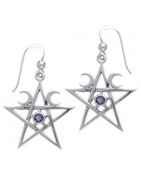 Pentagram Pentacle Earrings with Gemstone All Wicca Store Magickal Supplies Wiccan Supplies, Wicca Books, Pagan Jewelry, Altar Statues