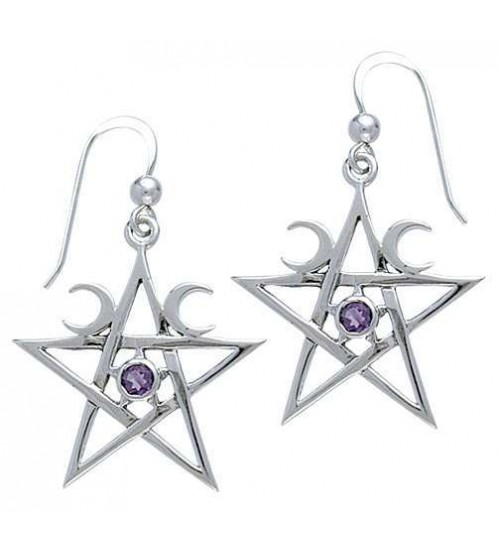 Pentagram Pentacle Earrings with Gemstone at All Wicca Store Magickal Supplies, Wiccan Supplies, Wicca Books, Pagan Jewelry, Altar Statues