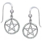 Ouroborus Snake of Rebirth Pentacle Earrings