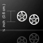 Pentagram Pentacle Tiny Stud Earrings in Sterling Silver