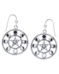 Magick Moon Phases Earrings in Sterling Silver All Wicca Store Magickal Supplies Wiccan Supplies, Wicca Books, Pagan Jewelry, Altar Statues