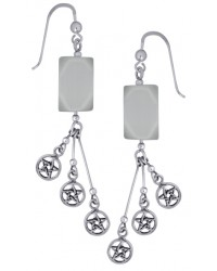 Pentacle Gemstone Sterling Silver Earrings All Wicca Store Magickal Supplies Wiccan Supplies, Wicca Books, Pagan Jewelry, Altar Statues