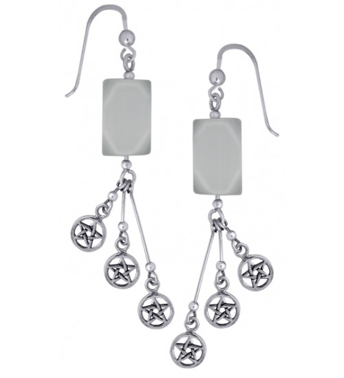 Pentacle Gemstone Sterling Silver Earrings at All Wicca Store Magickal Supplies, Wiccan Supplies, Wicca Books, Pagan Jewelry, Altar Statues