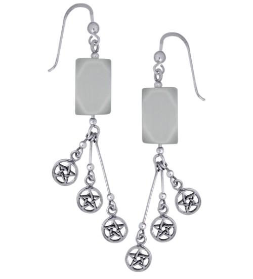 Pentacle Gemstone Sterling Silver Earrings