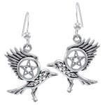 Raven Pentacle Sterling Silver Earrings