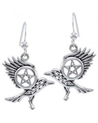 Raven Pentacle Sterling Silver Earrings All Wicca Store Magickal Supplies Wiccan Supplies, Wicca Books, Pagan Jewelry, Altar Statues