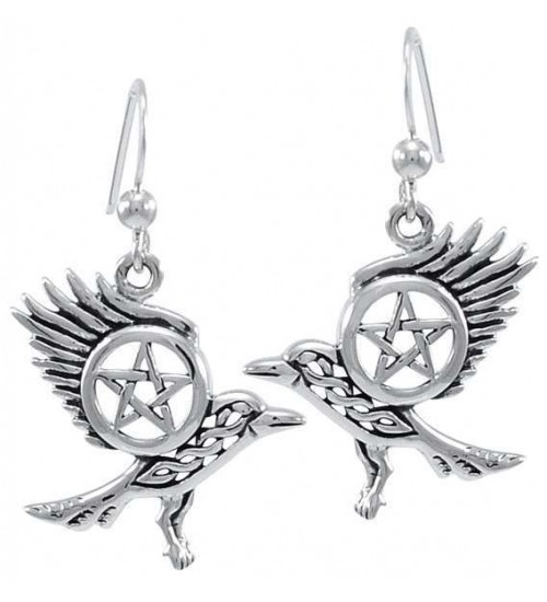 Raven Pentacle Sterling Silver Earrings at All Wicca Store Magickal Supplies, Wiccan Supplies, Wicca Books, Pagan Jewelry, Altar Statues