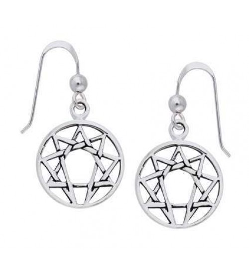 Enneagram Sterling Silver Earrings at All Wicca Store Magickal Supplies, Wiccan Supplies, Wicca Books, Pagan Jewelry, Altar Statues