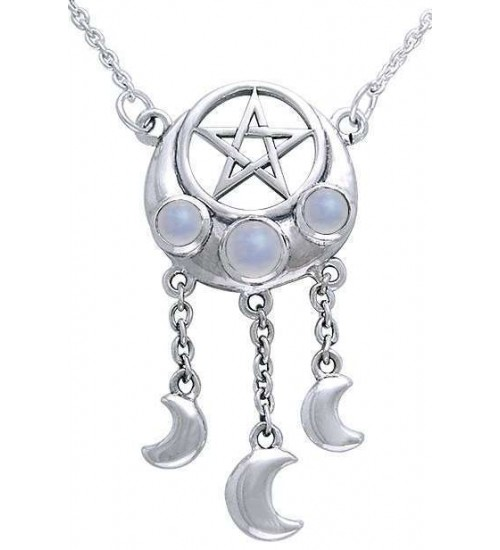 Crescent Pentacle Necklace with Moontones at All Wicca Store Magickal Supplies, Wiccan Supplies, Wicca Books, Pagan Jewelry, Altar Statues