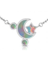 Moon and Star Necklace with Opal Inlay All Wicca Store Magickal Supplies Wiccan Supplies, Wicca Books, Pagan Jewelry, Altar Statues