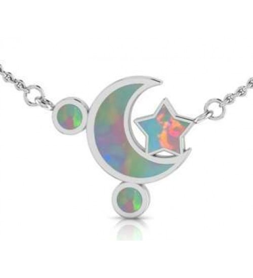 Moon and Star Necklace with Opal Inlay at All Wicca Store Magickal Supplies, Wiccan Supplies, Wicca Books, Pagan Jewelry, Altar Statues