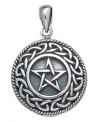 Knotwork Bordered Pentacle Pendant in Sterling Silver All Wicca Store Magickal Supplies Wiccan Supplies, Wicca Books, Pagan Jewelry, Altar Statues