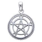 Moon Pentacle Sterling Silver Pentagram Pendant