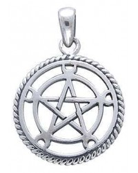 Moon Pentacle Sterling Silver Pentagram Pendant All Wicca Magickal Supplies Wiccan Supplies, Wicca Books, Pagan Jewelry, Altar Statues
