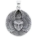 Ariel Bird Goddess Disk Pendant in Sterling Silver