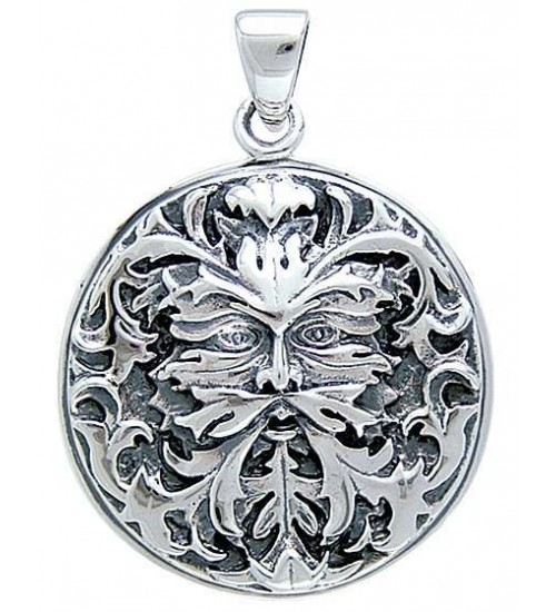 Green Man Sterling Silver Pendant