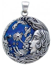 Luna Moon Goddess Pendant in Sterling Silver