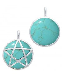Hidden Pentacle Turquoise and Sterling Silver Pendant
