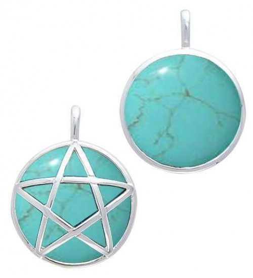 Hidden Pentacle Turquoise and Sterling Silver Pendant at All Wicca Store Magickal Supplies, Wiccan Supplies, Wicca Books, Pagan Jewelry, Altar Statues