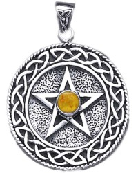 Celtic Border Pentacle Pendant with Amber for Wisdom