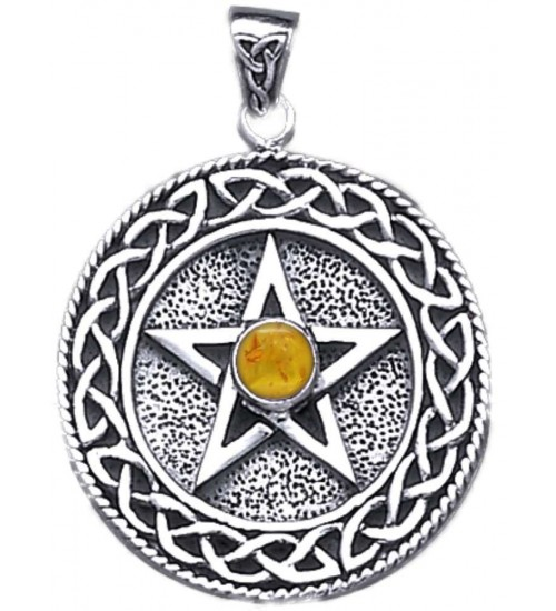 Celtic Border Pentacle Pendant with Amber for Wisdom at All Wicca Store Magickal Supplies, Wiccan Supplies, Wicca Books, Pagan Jewelry, Altar Statues