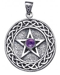 Celtic Border Pentacle Pendant with Amethyst