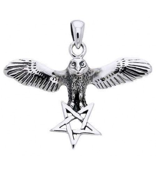 Flying Owl Pentagram Sterling Silver Pendant at All Wicca Store Magickal Supplies, Wiccan Supplies, Wicca Books, Pagan Jewelry, Altar Statues