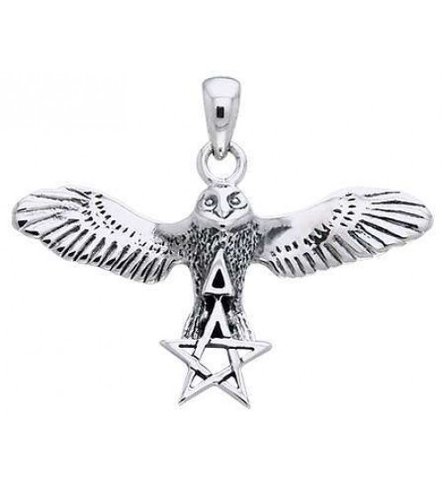 Flying Owl Triangle and Pentagram Sterling Silver Pendant at All Wicca Store Magickal Supplies, Wiccan Supplies, Wicca Books, Pagan Jewelry, Altar Statues