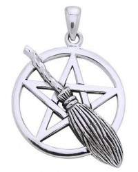 Broom Pentacle Pendant in Sterling Silver All Wicca Store Magickal Supplies Wiccan Supplies, Wicca Books, Pagan Jewelry, Altar Statues
