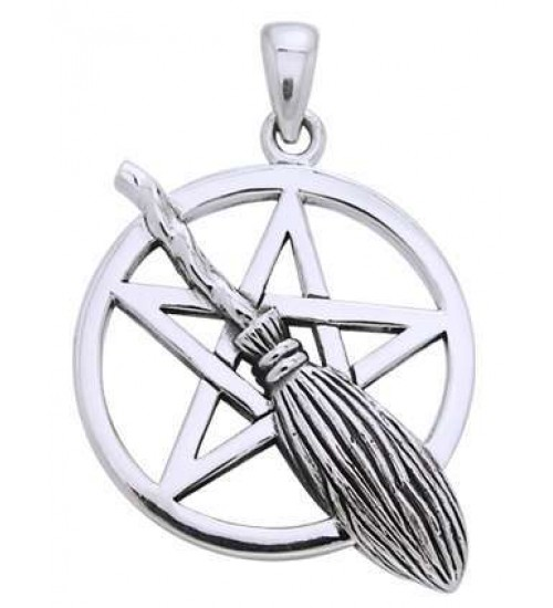 Broom Pentacle Pendant in Sterling Silver at All Wicca Store Magickal Supplies, Wiccan Supplies, Wicca Books, Pagan Jewelry, Altar Statues