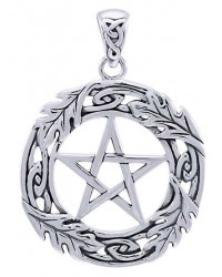 Celtic Oak Leaf Pentacle Sterling Silver Pendant