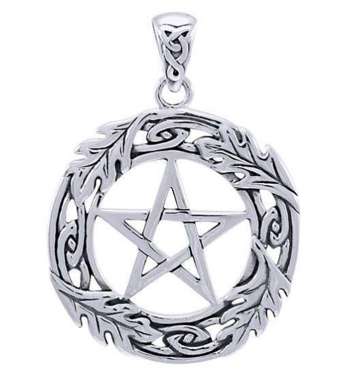 Celtic Oak Leaf Pentacle Sterling Silver Pendant at All Wicca Store Magickal Supplies, Wiccan Supplies, Wicca Books, Pagan Jewelry, Altar Statues