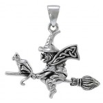 Classic Witch Riding Broom Sterling Silver Pendant