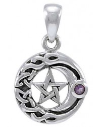 Moon Pentacle with Amethyst Small Silver Pendant All Wicca Store Magickal Supplies Wiccan Supplies, Wicca Books, Pagan Jewelry, Altar Statues