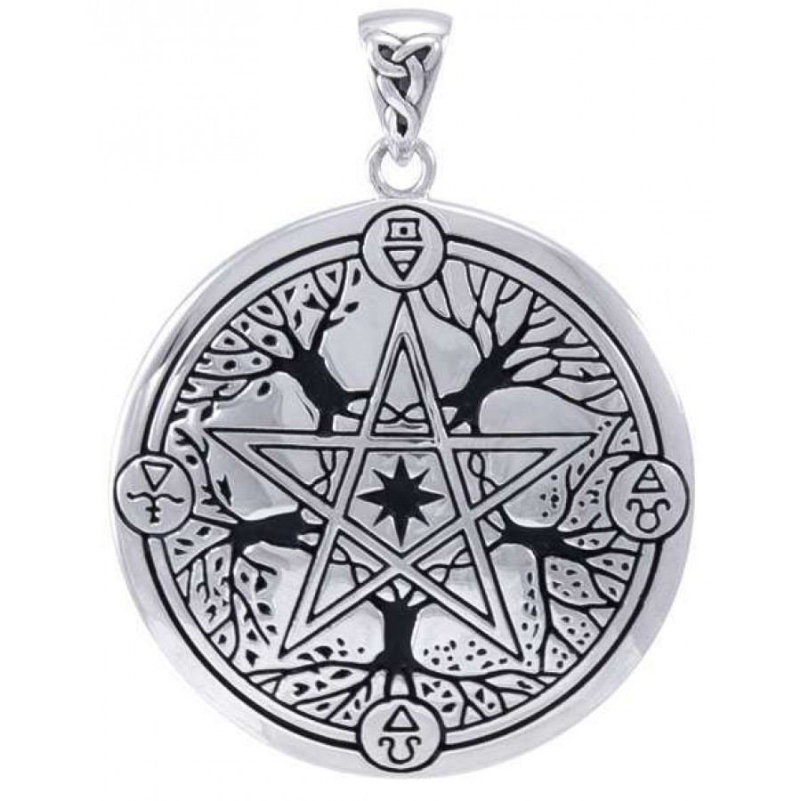 Witch Broom Pentacle Pagan Wiccan .925 Sterling Silver Ring by Peter Stone