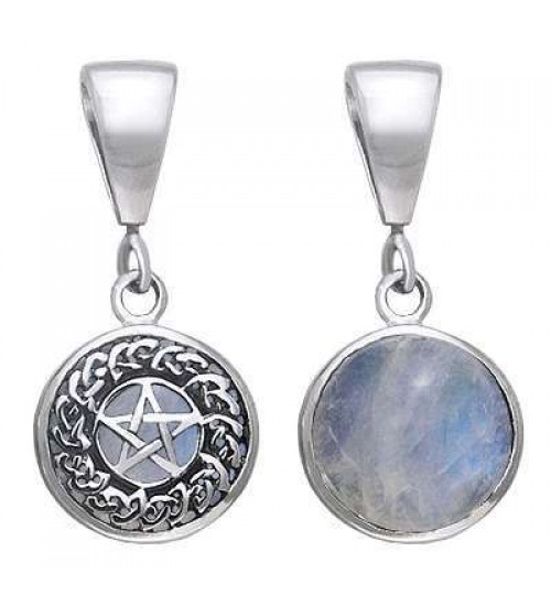 Celtic Hidden Pentacle Sterling Silver Moonstone Pendant at All Wicca Store Magickal Supplies, Wiccan Supplies, Wicca Books, Pagan Jewelry, Altar Statues