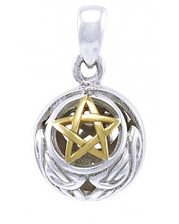 Hollow Ball Celtic Knot Pentacle Silver and Gold Pendant All Wicca Store Magickal Supplies Wiccan Supplies, Wicca Books, Pagan Jewelry, Altar Statues