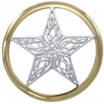 Celtic Knotwork Pentacle Silver and Gold Pendant
