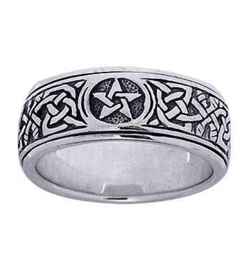 Pentacle Celtic Knot Narrow Fidget Spinner Ring at All Wicca Store Magickal Supplies, Wiccan Supplies, Wicca Books, Pagan Jewelry, Altar Statues