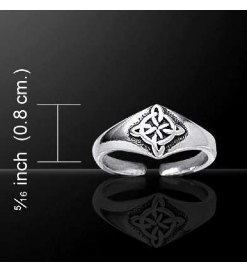 Celtic Four Point Quaternary Knot Silver Toe Ring at All Wicca Store Magickal Supplies, Wiccan Supplies, Wicca Books, Pagan Jewelry, Altar Statues