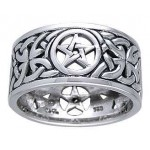 Pentacle Open Knotwork Sterling Silver Ring