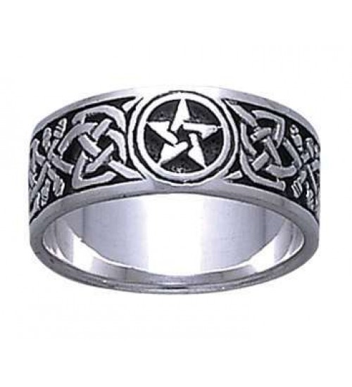 Celtic Knot Pentacle Band Ring at All Wicca Store Magickal Supplies, Wiccan Supplies, Wicca Books, Pagan Jewelry, Altar Statues