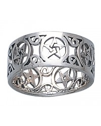 Pentacle Open Sterling Silver Ring All Wicca Store Magickal Supplies Wiccan Supplies, Wicca Books, Pagan Jewelry, Altar Statues