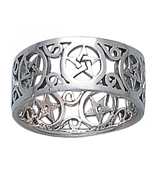 Pentacle Open Sterling Silver Ring at All Wicca Store Magickal Supplies, Wiccan Supplies, Wicca Books, Pagan Jewelry, Altar Statues