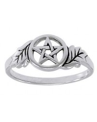 Oak Leaf Pentacle Sterling Silver Ring All Wicca Store Magickal Supplies Wiccan Supplies, Wicca Books, Pagan Jewelry, Altar Statues