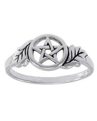Oak Leaf Pentacle Sterling Silver Ring