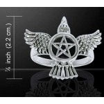 Pentacle Raven Sterling Silver Ring