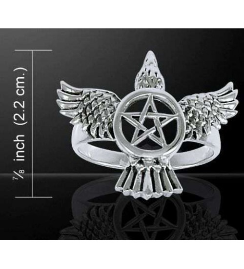 Pentacle Raven Sterling Silver Ring at All Wicca Store Magickal Supplies, Wiccan Supplies, Wicca Books, Pagan Jewelry, Altar Statues