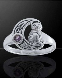 Celtic Cat and Moon Sterling Silver Ring All Wicca Store Magickal Supplies Wiccan Supplies, Wicca Books, Pagan Jewelry, Altar Statues